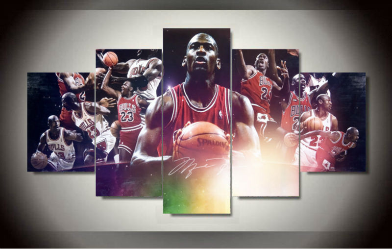5 panels michael jordan star poster for living sitting room hd print canvas paintings modern home decor wall art pictures framed