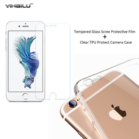 TPU Case+Screen Protect For iPhone 7 Soft Clear Slim Protective Camera Back Cover For iPhone7 Plus Tempered Glass Film Cover Set