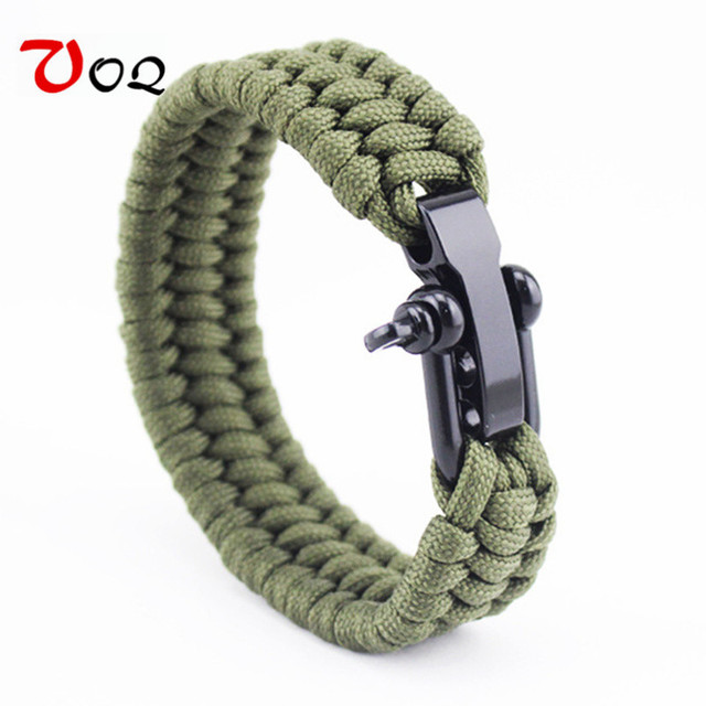 100% Top Outdoor ArmyGreen Parachute Cord Survival Bracelet men's Black Stainles
