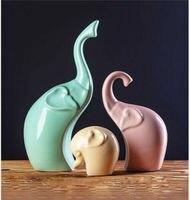 Family Elephant Statue Home Decor Room Ornament Porcelain Animal Figurines