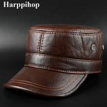 Winter thermal 2017 genuine leather hat male cap cadet cap male military hat cowhide leather cap cowhide baseball cap male autumn and winter genuine leather hat thermal thickening male cotton earmuffs winter hat