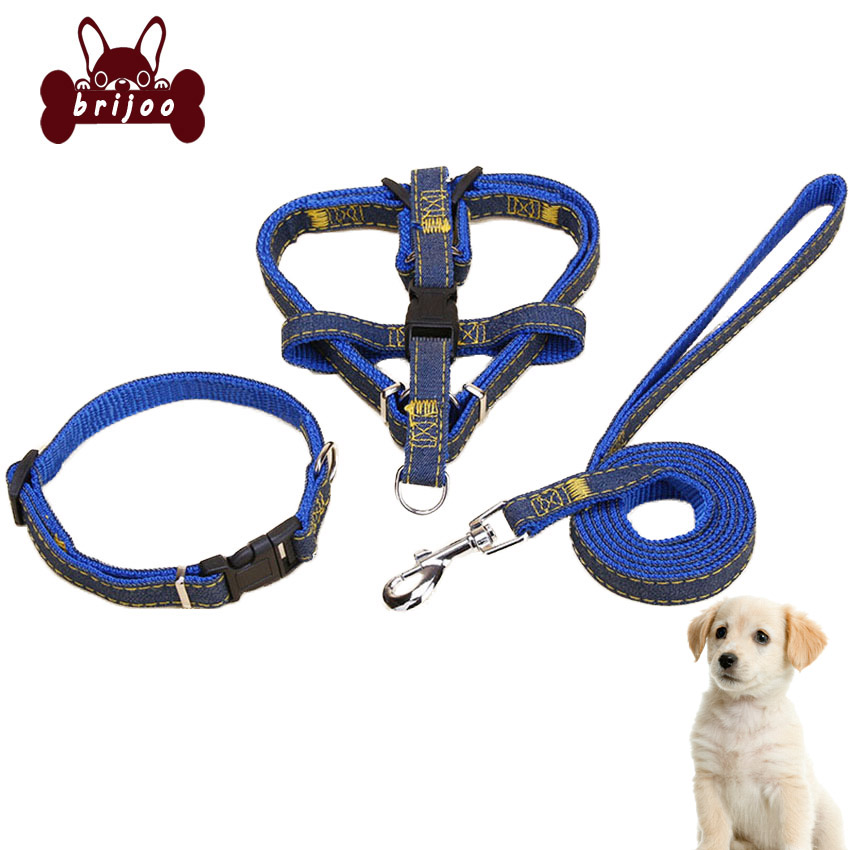 Dog Harness Leash Collar Set Pet Supplies Colored Braided Rope Round Traction Rope Pooch Jean Chest Dog Traction Collar Set