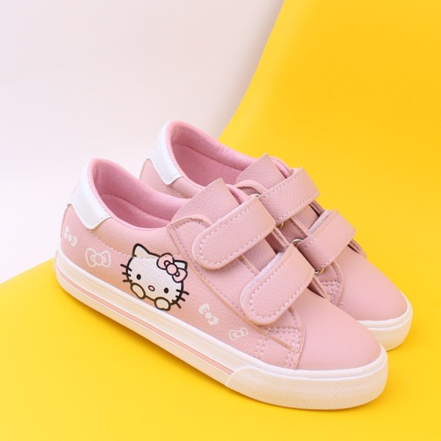Spring Children Girls Kitty Cat Shoes Girls Princess Sneakers Kids Casual  cartoon Shoes For Girls leather Single Shoes 3ffce7d8e74f