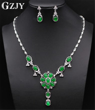 GZJY Noble Jewelry Sets White Gold Color Green Stone&AAA Cubic Zircon Necklace Earring Set For Women Party Jewelry
