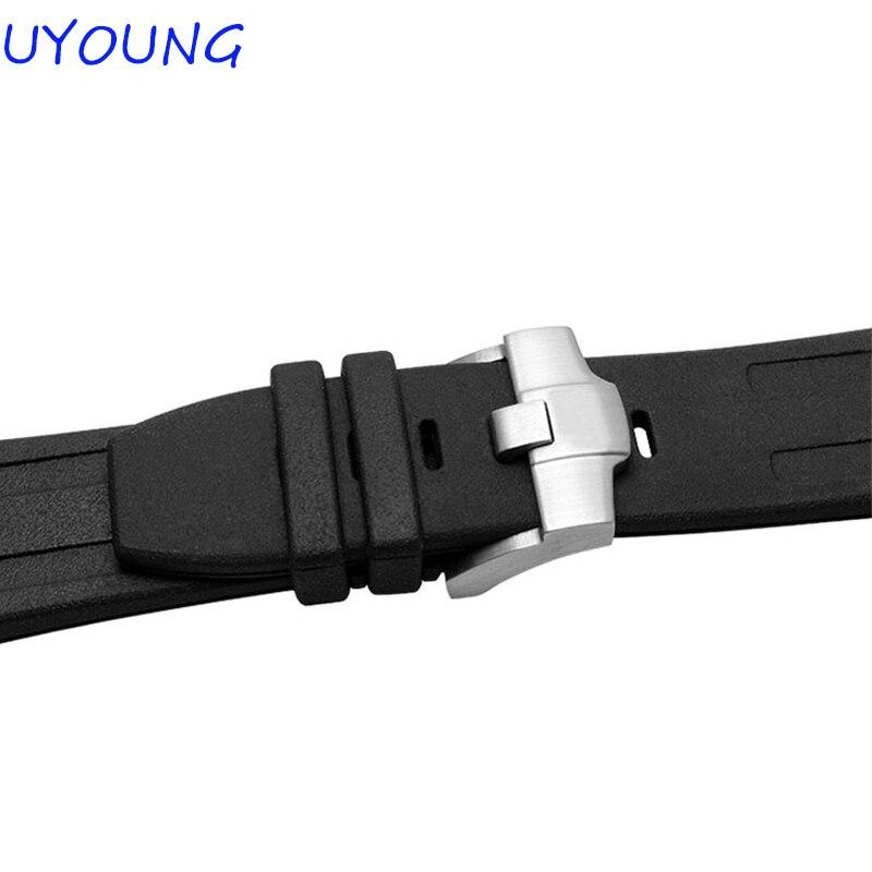 Prabangi juosta, 28 mm kamufliažinė juoda gumos silikoninė, - Laikrodžių priedai - Nuotrauka 6