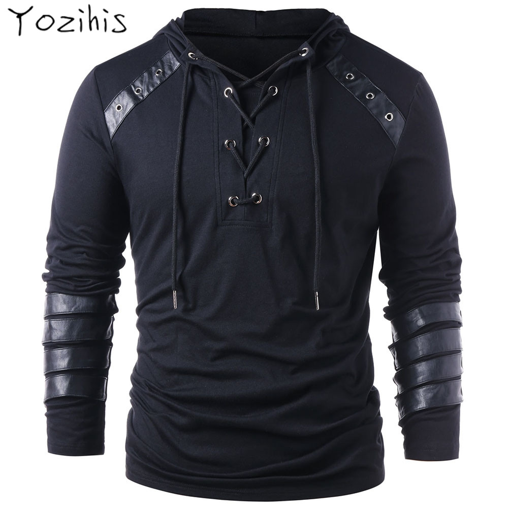Yozihis Men's Fashion Faux Leather Lace Up Hoodie For Boyfriend New Style Drawstring Hoodie Pullover Sweatshirt Full Sleeves
