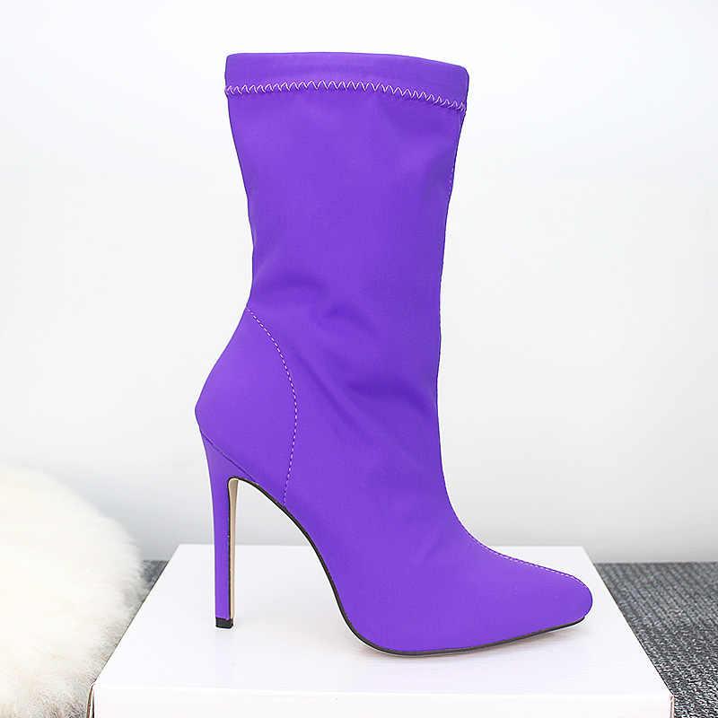 Streç Stiletto topuklu yarım çizmeler Scarpins balo bahar ayakkabı şeker kadın sivri burun 11cm yüksek topuklu fetiş ipek çorap