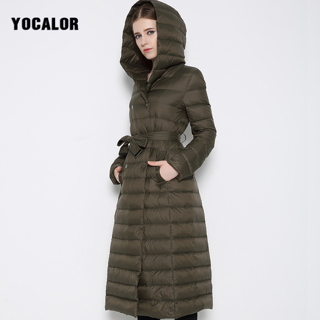 426d3939d4e YOCALOR European High Quality Womens Down Jackets Brands Coat Winter Warm  Long Puffer Hooded Jacket Goose Feather Coats Duck