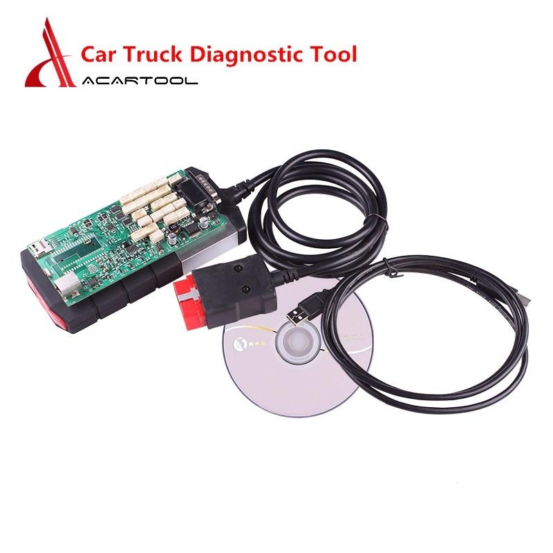 Trucks Car Diagnostic Tool Bluetooth/USB Single/Double Green PCB OBD2 Scanner NEC Relays 2015.R3/2016.R1 with Keygen VCI Scanner