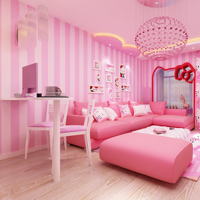 bedroom pink background child living papel children minimalist korean pvc princess parede modern infantil striped warm zoom wallpapers para
