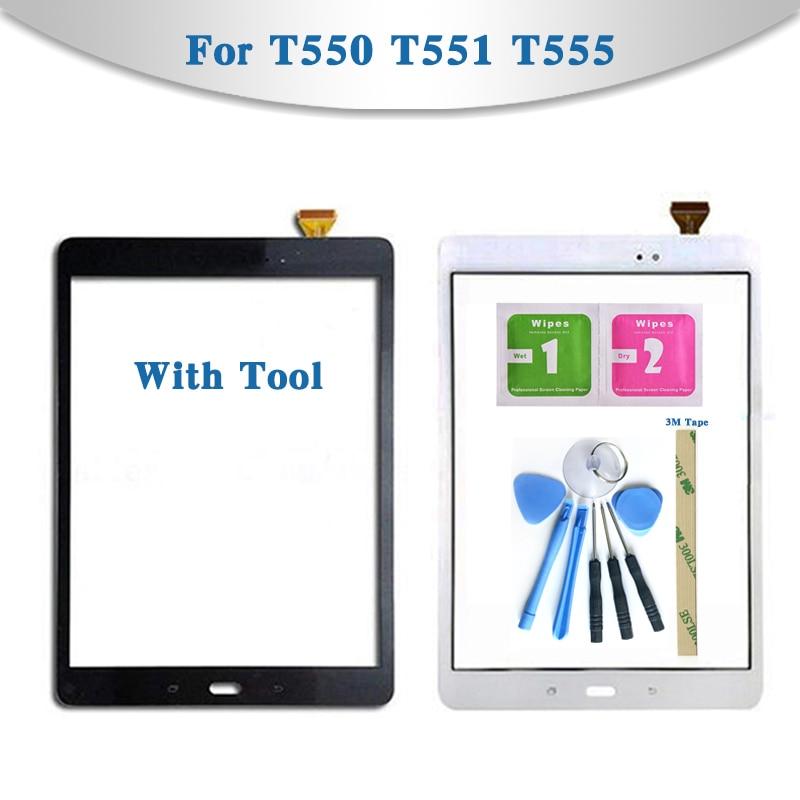 Сенсорный экран для планшета Samsung Galaxy Tab A, экран 9,7 дюйма, сенсорный экран, сенсорная панель, внешнее стекло, передняя панель, T550, T551, T555