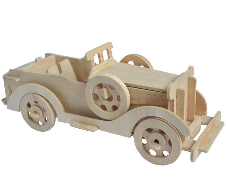 Моделирование Винтаж игрушечных автомобилей модели 3d трехмерные деревянные головоломки игрушки для детей Diy ручной работы деревянные пазл...