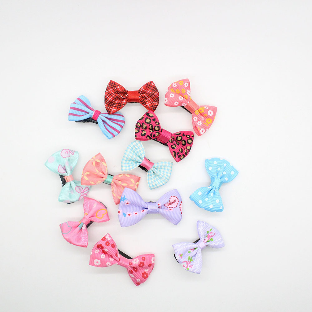 Fashion Style 20 Pcs/lot Candy Color Solid/ Dot/ Leopard Print Bow Hairpin Hair Clips For Baby Girls Kids Hair Accessories