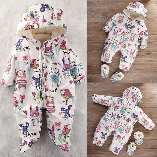 Newborn Kids Baby Girl Boy Cotton Padded Hoodie Jumpsuit Playsuit Outfits
