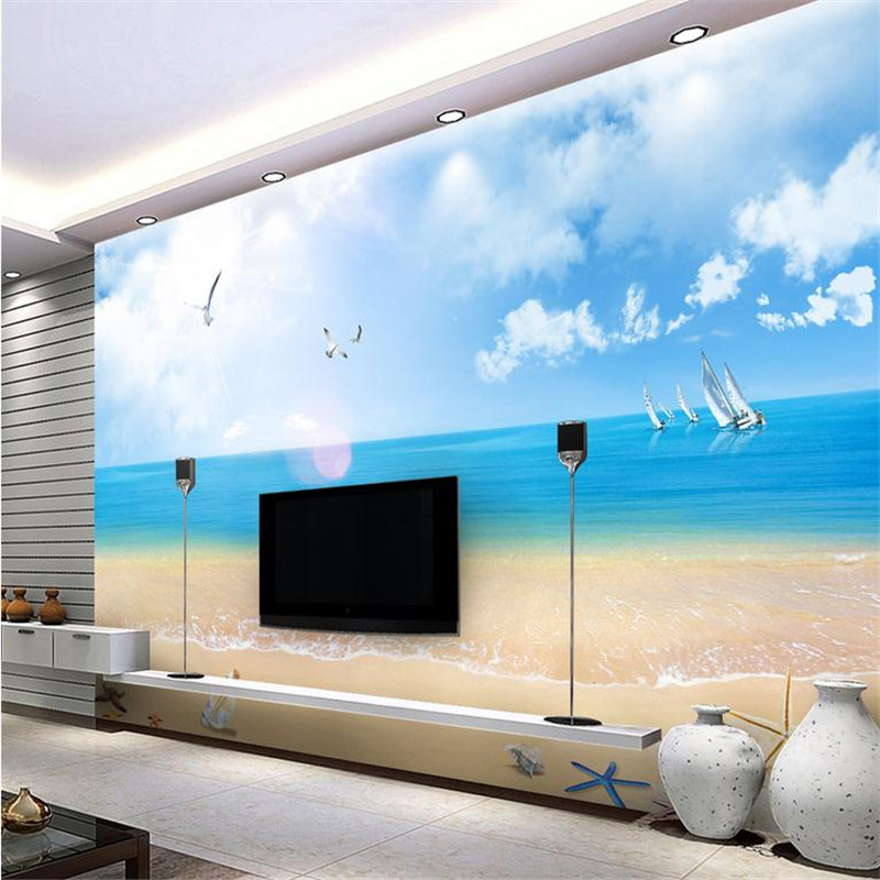 custom 3d modern decorate photo wallpaper bedroom living room large background wall mural blue sky beach landscape wallpaper custom 3d high quality modern photo wallpaper bedroom living room large background wall mural romantic purple avender wallpaper