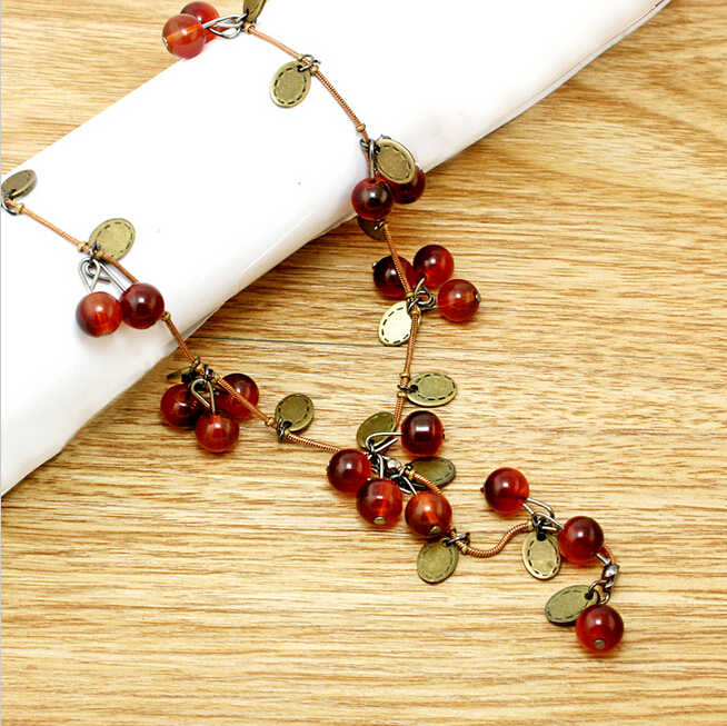 Red Cherries Necklaces Pendants Fashion Choker Necklace Women Leaf Jewelry for Wedding