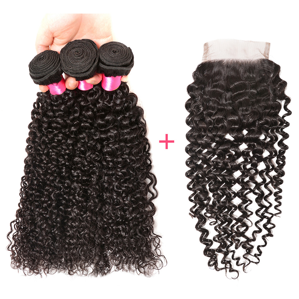 Malaysian Curly Hair Bundles With Closure 4*4 Lace Free Part 100% Human Hair Weave 3 Bundles With Closure Afro Remy Hair BOL