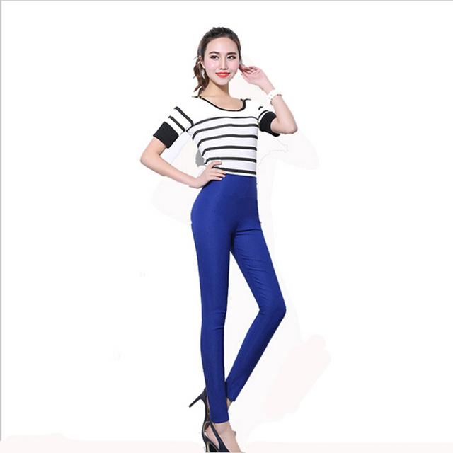 Nova cor de doces 2016 calças primavera outono mulheres estiramento skinny calças lápis mulheres plus size 5xl 6xl ocasional cintura alta calças