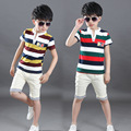 2016 New Summer Baby Boy Clothing Set Tank Top + Shorts Kid Boy Summer Set Children Boy Clothes Set Cotton Striped Sport Suits