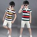 2016 Nueva Ropa Del Bebé Del Verano Del Tanque Top + Shorts Kid Boy Summer Set Niños Boy Ropa Set Algodón A Rayas Deporte trajes