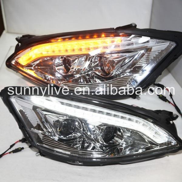 Pour mercedes-benz classe S W221 DRL LED phare 2006-2009 année boîtier chromé SN