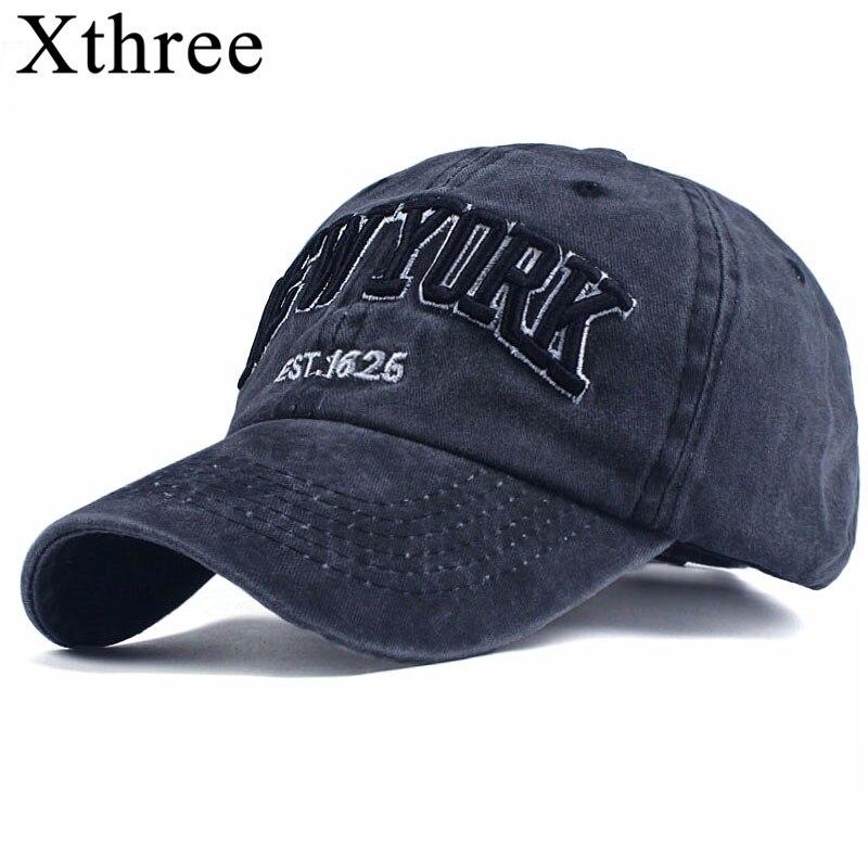 Xthree 100% Gewaschen Baumwolle Baseball Caps Männer kappe Stickerei Casquette Papa Hut für Frauen Gorras Planas snapback Hut