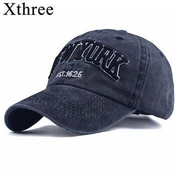 2eb3f59c39411 Xthree 100% algodón lavado Gorras de béisbol hombres cap bordado Casquette  Dad Hat para las mujeres Gorras Planas snapback sombrero