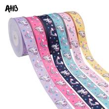 AHB 5Y/lot Grosgrain Ribbon 25MM Rainbow Unicorn Printed DIY Bows Gifts Wrapping Festival Decor Materials Handmade Supply