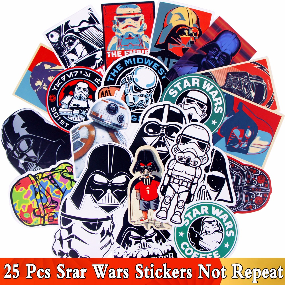 25Pcs / Lot Matte Star Wars Stickers Graffiti JDM Decal For Kid DIY Skateboard Laptop Car Luggage Bicycle Waterproof Mix Sticker