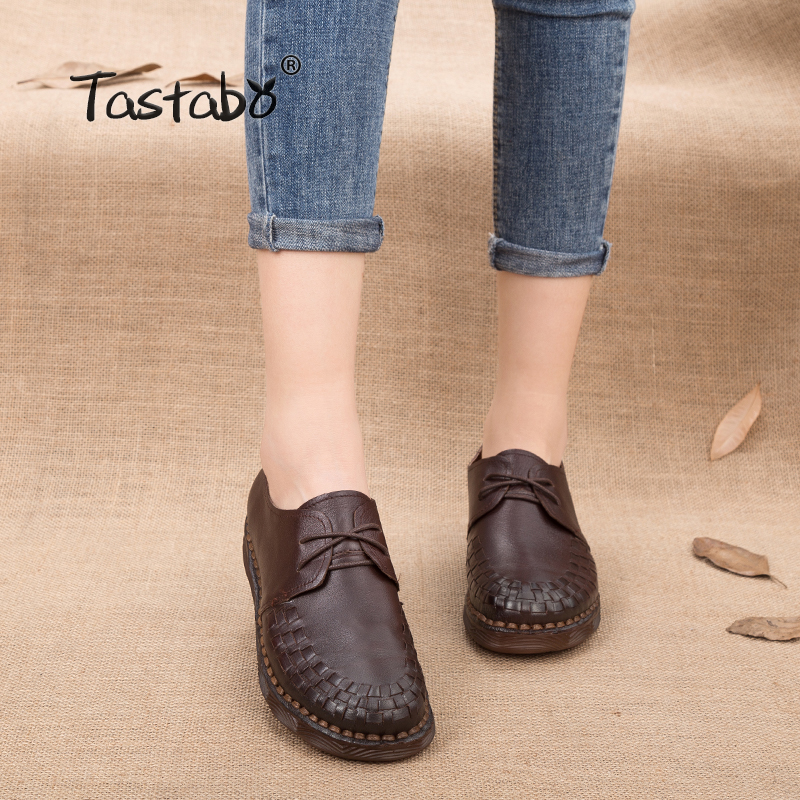 Tastabo Genuine Leather Oxford Shoes For Women Round Toe Lace-Up Casual Loafers Shoes Handmade Flat Shoes Woman Sneakers 2018 fevral fashion genuine leather oxford shoes for women round toe lace up casual shoes spring and autumn flat loafers shoes 35 44