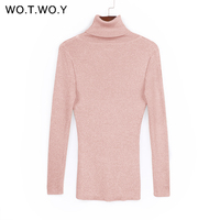 WOTWOY Shiny Sequins Women Turtleneck Pullovers Sweater Long Sleeve 2017 Womens Knitted Sweaters Solid Autumn Winter