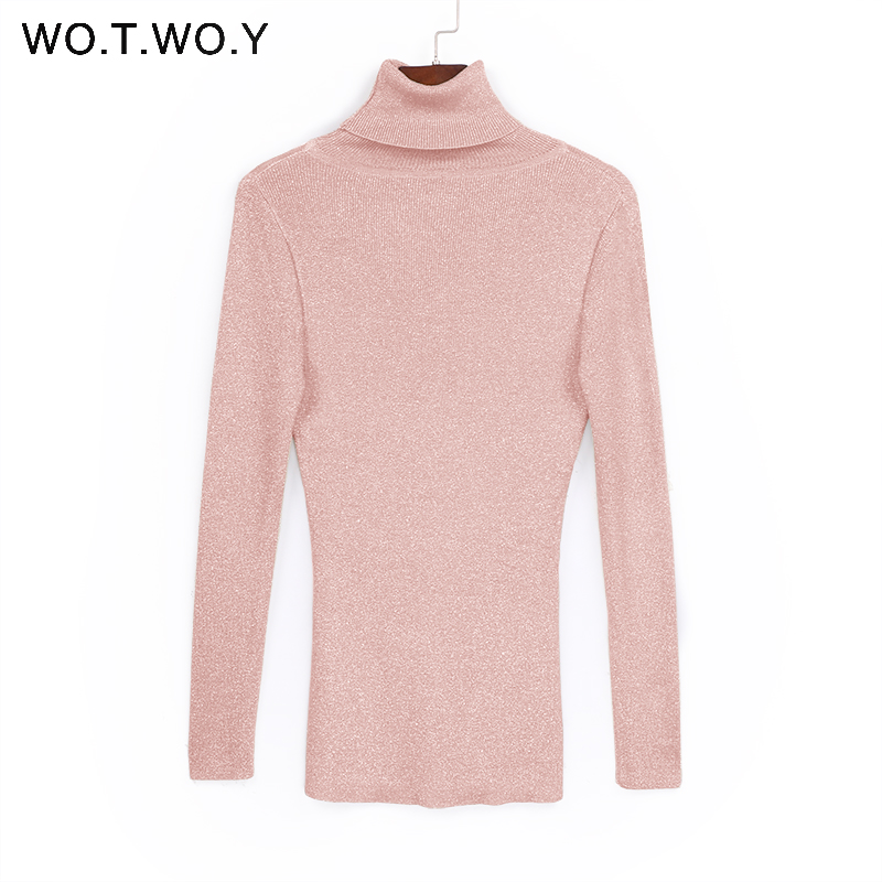 WOTWOY Shiny Sequins Women Turtleneck Pullovers Sweater Long Sleeve 2017 Womens Knitted Sweaters Solid Autumn Winter Jumper New