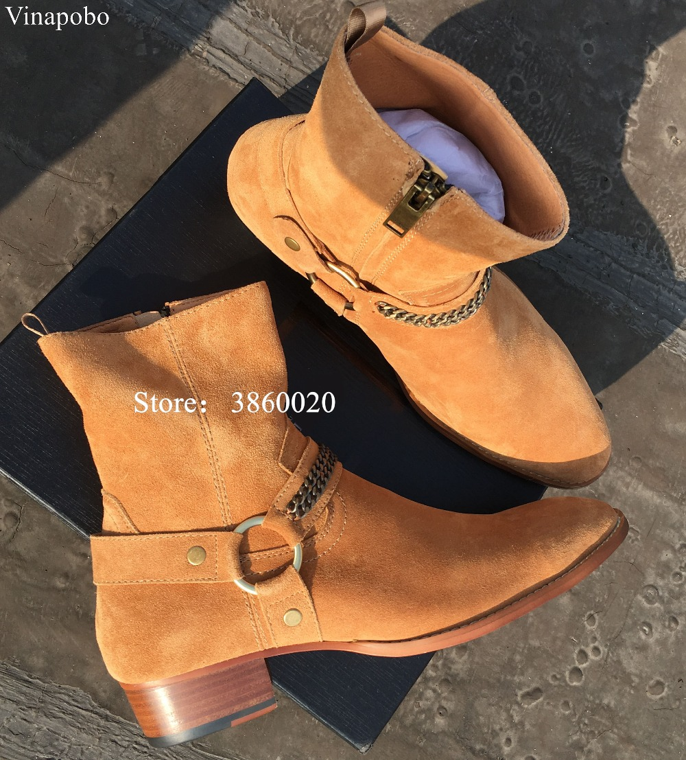 VINAPOBO High Top Handmade Wyatt Harry Buckle Ring Strap vintage Chain Men Chelsea Boots Leather Denim