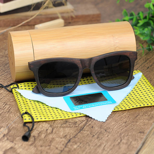 84771817089 placeholder BOBO BIRD Retro Ebony Wooden Sunglasses With Grey Polarized Lens  And Fashion Design Laser On Wooden