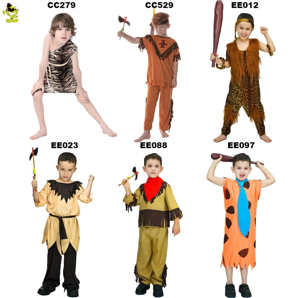5afcb982bca3 Caveman Children s Fred Flintstone Dress Halloween cosplay Costume Cave  child Jungle Tarzan Caveman The Croods Kids
