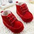 Dulce infantil para niños zapatos botines de encaje roja suave de algodón zapatos del pesebre primeros caminante
