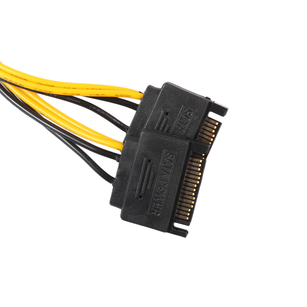 vovotrade (USA Respone) 15Pin SATA Male To 8pin(6+2) PCI-E Male Video Card Power Supply Adapter Cable Drop Shipping