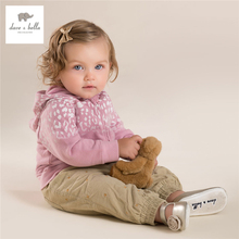 DB4067 dave bella autumn baby girls pink coat hooded outerwear kids pink leopard coat