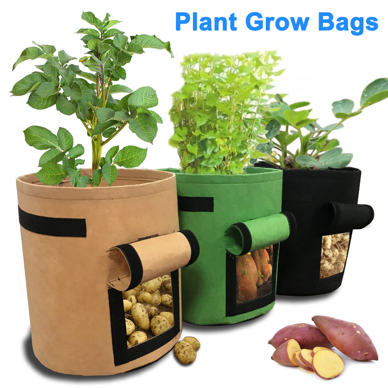Newly Sweet Potato Indoor Outdoor Soil Plant Grow Bags with Flap and Handles