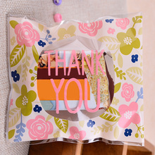 100Pcs Wedding Party Thank You Gift Floral Baking Cookie Self Adhesive Rectangle Packaging Candy Bag