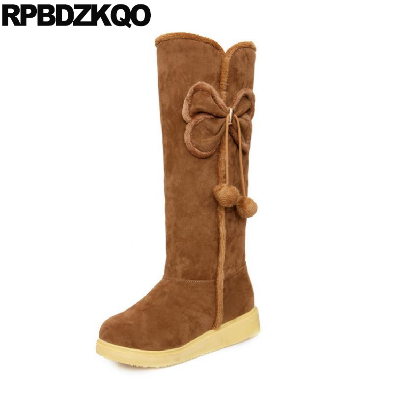 10 Platform 2017 Round Toe Suede Slip On Japanese Knee High Brown Bow Women Snow Boots Winter Fur Shoes Big Size 34-43 Pom Poms gaoke big size 34 43 winter snow boots women ankle boots 2017 round toe platform winter shoes with fur woman fur shoes