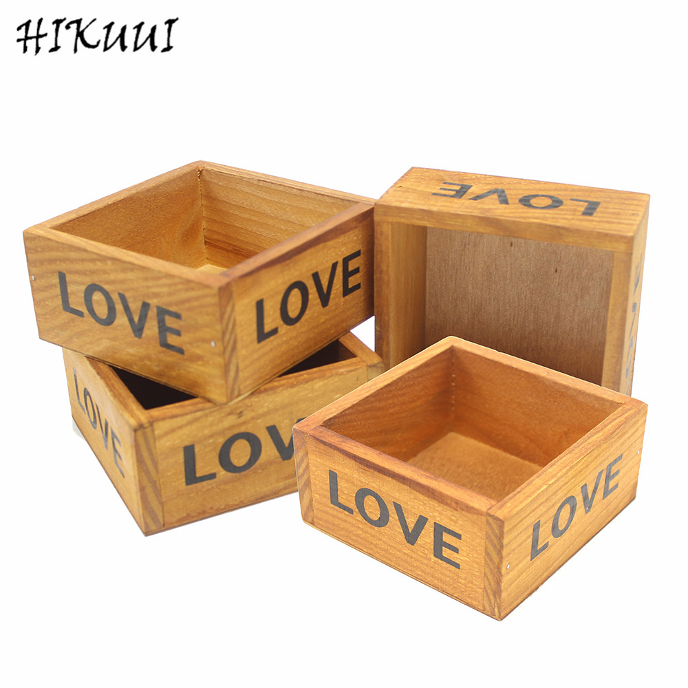 4pc Classic Style Plant pot Retro Wooden Multi functional Storage Desk Box Love Jewelry Antique Storage Box Cosmetics(10*10*5cm)