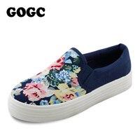 GOGC 2016 New Flower Women Shoes Height Increasing Floral Canvas Shoes Women Casual Shoes Women Platform