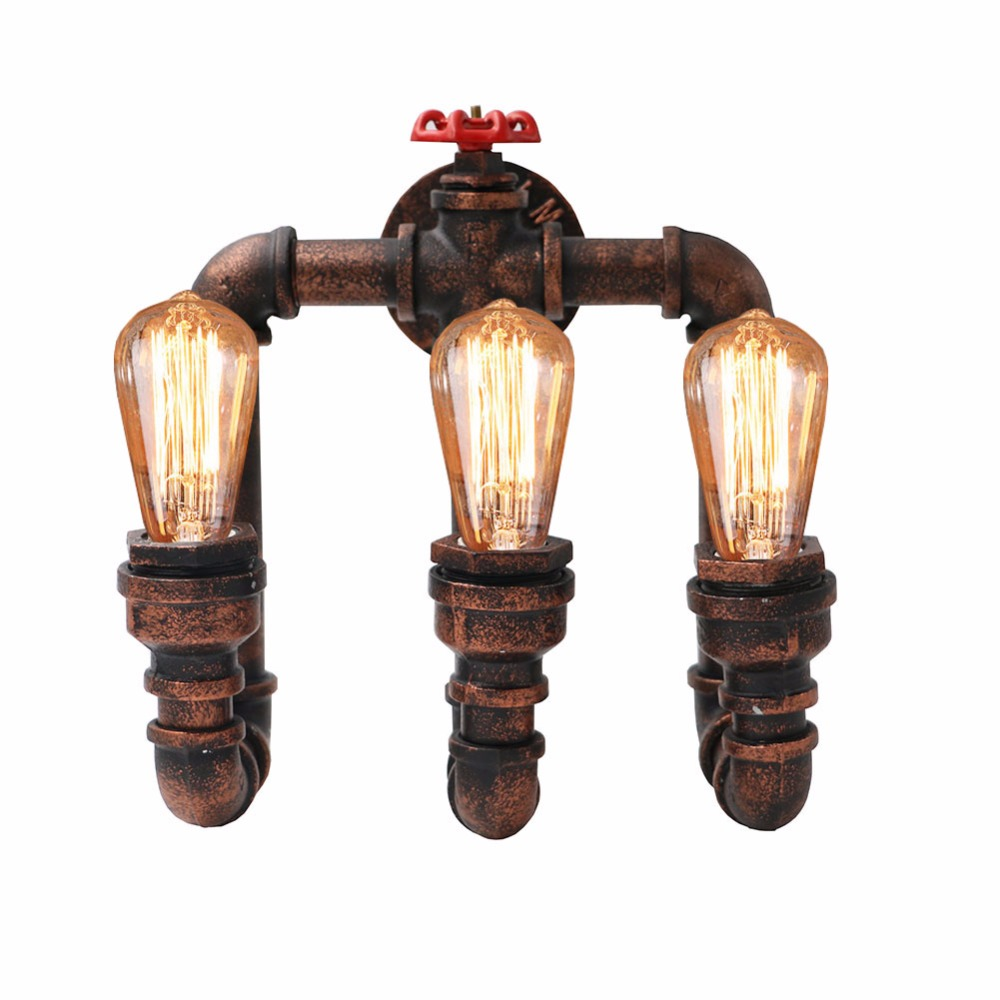3 Head Loft Industrial Wall Lamps Antique Edison Wall lights with Bulbs E27 Vintage Pipe Wall Lamp for Living Room Lighting american style bedside antique wall lamp single head living room lights vintage fashion bar lamps night lamp hot free shipping