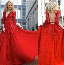 Robe de soiree Sexy Langer Abschlussball Kleidet 2017 Rot V ansatz Dreiviertel Backless Perlen Abendkleid vestidos de baile ballkleider