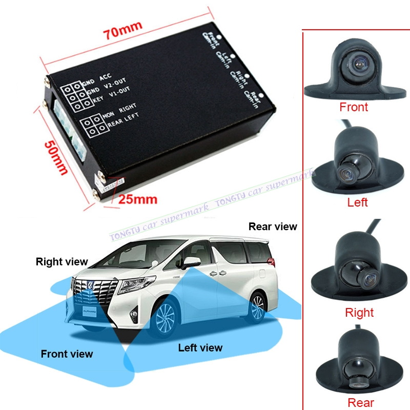 Voiture Aide Au Stationnement 4-View Caméra Switch Box Système Avec 4 PCS 360 Degrés de Rotation De Voiture Universel Avant/Côté/arrière Caméras