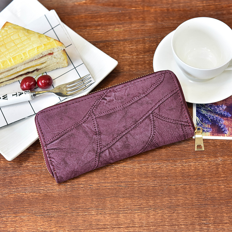 2017 new Korean fashion purse stitching long tide retro minimalist multi Card Wallet