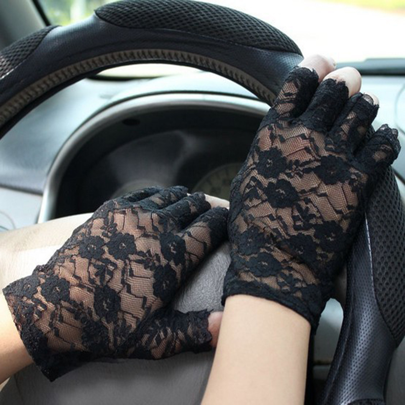 Hot Sale Goth Party Sexy Dressy Women Lady Lace Gloves Mittens Fingerless 2 Color Fashion Accessory Women Lady Flower Gloves