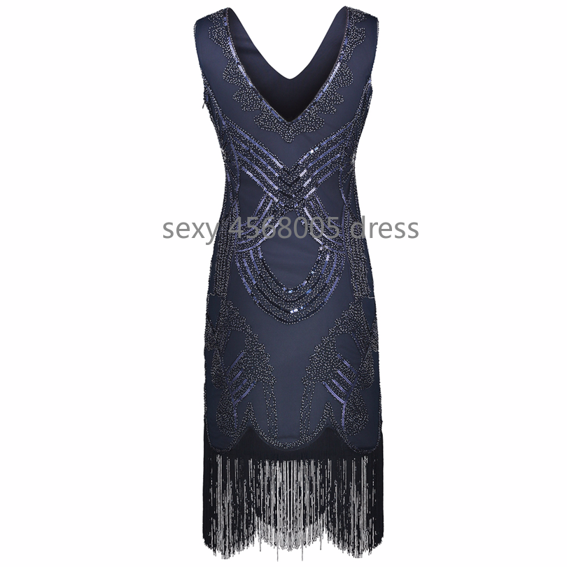 189311561e US $20.3 49% OFF|Women's Retro 1920s Great Gatsby Dress Vintage Double V  Neck Fringe Hem Art Deco Beads Sequined Flapper Party Dress-in Dresses from  ...