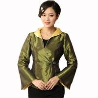 Green Chinese National Women Silk Satin Jacket Autumn Winter Coat Traditional Tang Suit Top Overcoat Size S M L XL XXL XXXL M 27